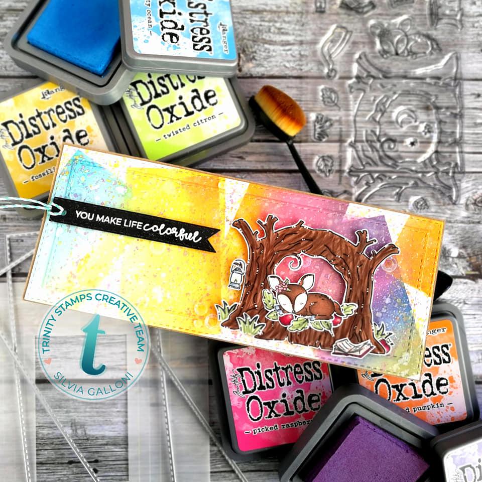 """You make life colorful"" slimline card"